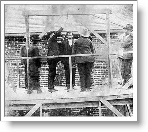 The only known photograph of Remus shows him standing on the gallows in Montana territory.